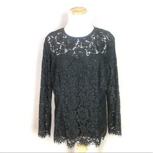 NWT Boden Black Lace Lined Susannah Top Size 14